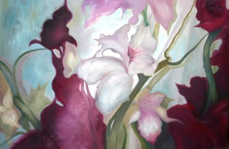7.Umele kvety ozivaju olej na platne 80x120cm
