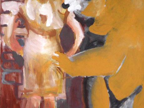 Josef Kleiner: On s ní, ona sní, 2016, akryl na plátně, 120 x 80
