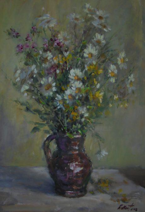 Jiří Kollert: Polní květina, 2002, olej na sololitu, 50 x 30 cm foto: archiv autora