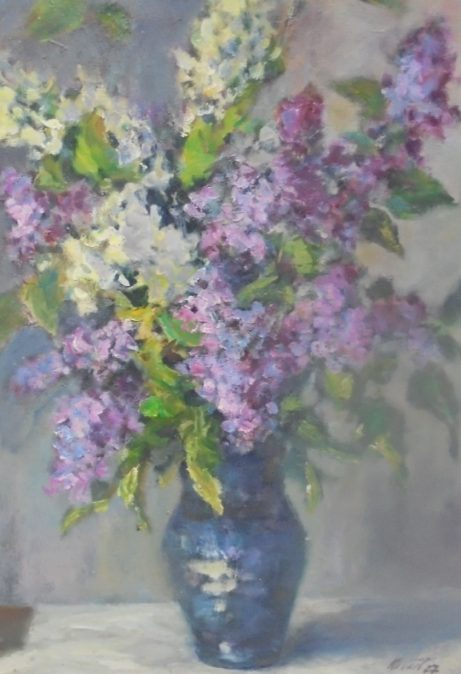 Jiří Kollert: Barevná kytice šeříků, 2007, olej na sololitu, 55 x 40 cm foto: archiv autora