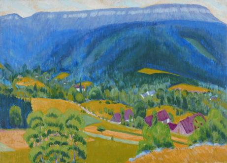 Josef Lisák: Machovská Lhota /1970, olej na plátně, rozměr 120 x 170 cm