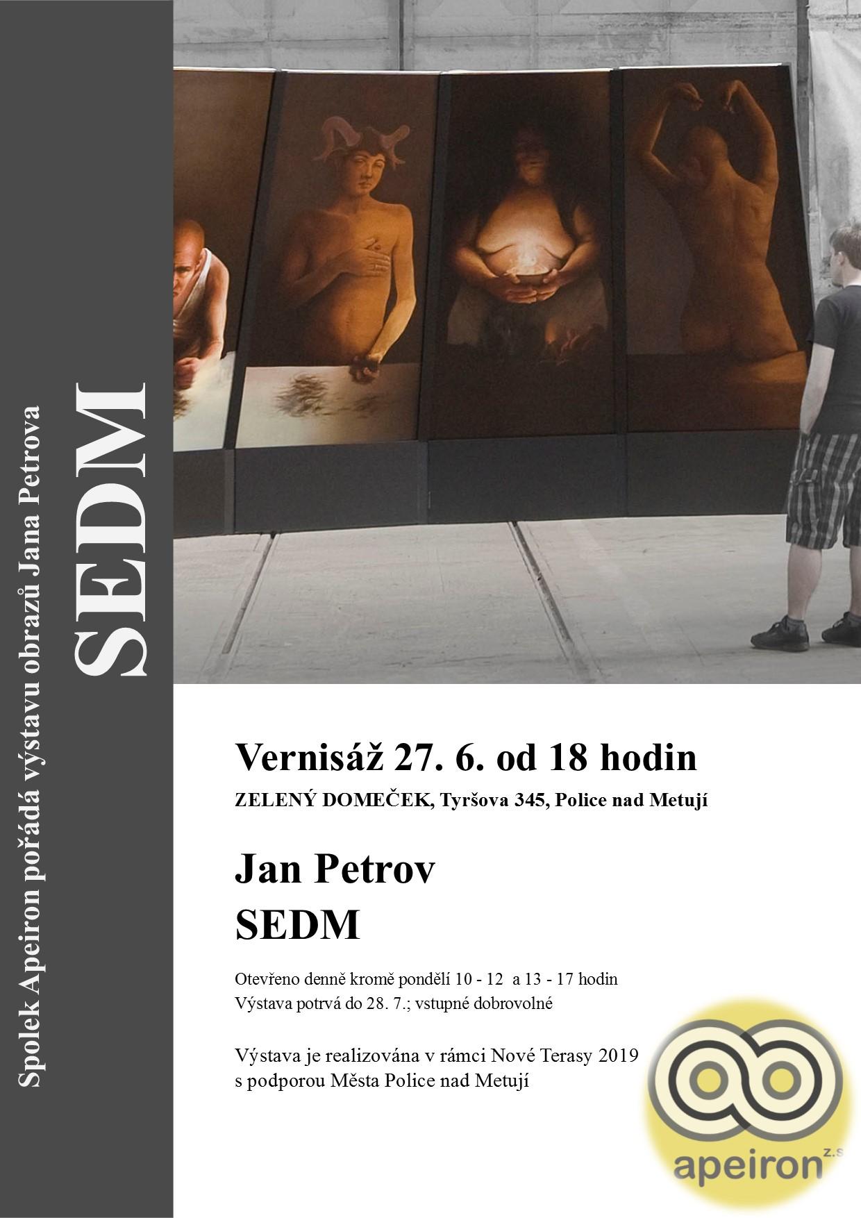 První polovina prázdnin bude ve Výstavní síni Zelený domeček v Polici nad Metují (Tyršova 345) ve znamení hyperrealismu. Spolek Apeiron připravil pro milovníky malby bonbónek v podobě výstavy Jana Petrova s názvem Sedm.